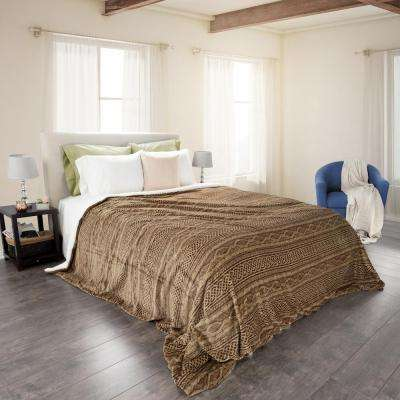 Chocolate Polyester Flannel/Sherpa King Blanket