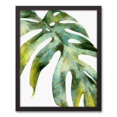 16 in. x 20 in. ''Green Palm Leaf'' Printed Framed Canvas Wall Art