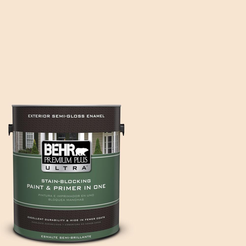 BEHR Premium Plus Ultra 1-gal. #OR-W3 Mannequin Cream Semi-Gloss Enamel Exterior Paint