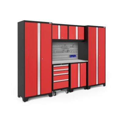Bold Series 3.0 77.25 in. H x 108 in. W x 18 in. D 24-Gauge Steel Cabinet Set in Red (7-Piece)