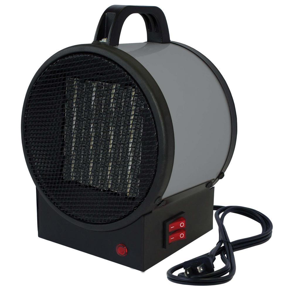 1,500-Watt 120-Volt Small Portable Utility Heater in Gray