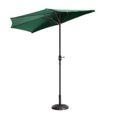 9 ft. Steel Market Half Patio Umbrella in Green