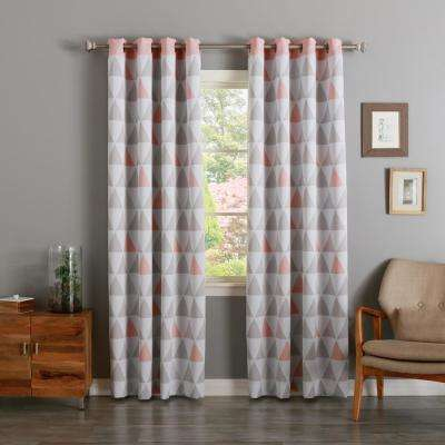 84 in. L Dusty Pink Mixed Triangle Room Darkening Curtain (2-Pack)