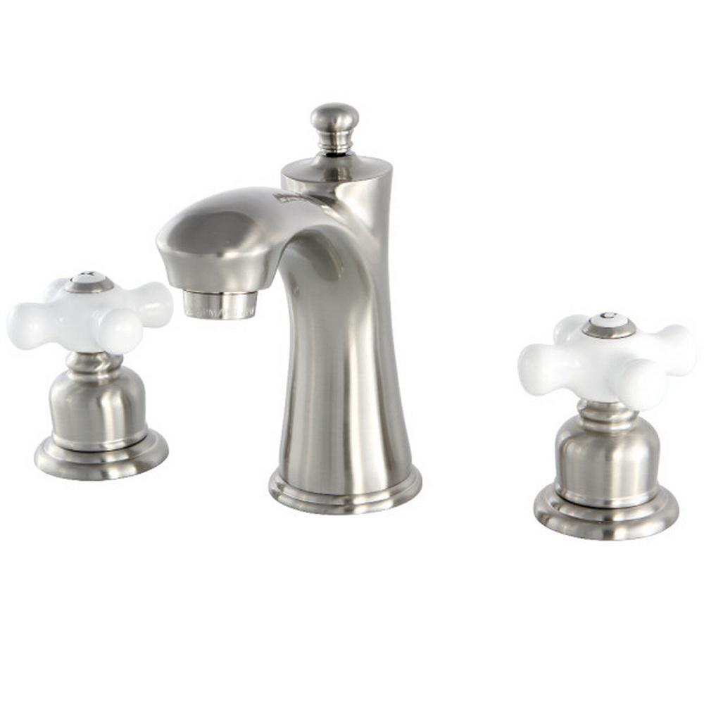 Kingston brass victorian 8 in widespread 2 handle bathroom faucet in satin nickel hkb7968px for Victorian widespread bathroom faucet cross handles