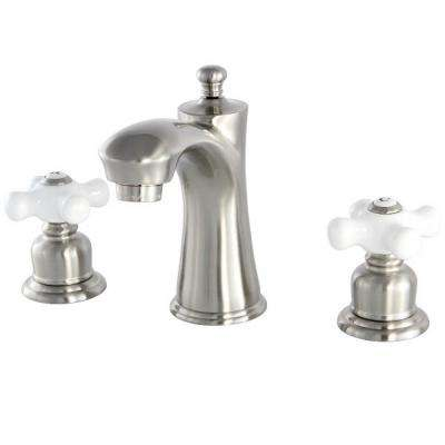 Victorian 8 in. Widespread 2-Handle Bathroom Faucet in Satin Nickel