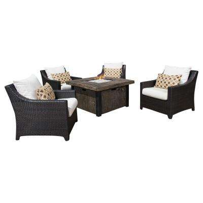 Deco 5-Piece Patio Fire Pit Seating Set with Moroccan Cream Cushions