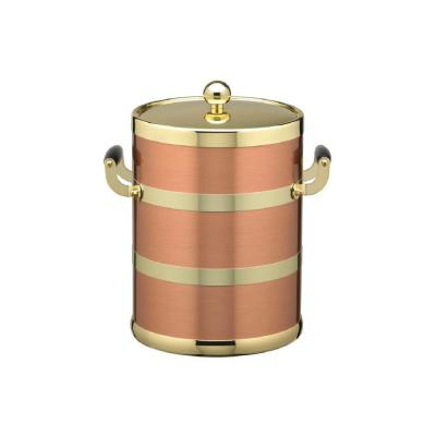 Americano 5 Qt. Brushed Copper and Brass Ice Bucket with Wood Side Handles