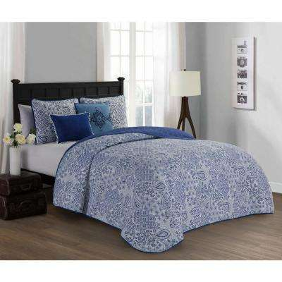 Fresco 5-Piece Blue Queen Quilt