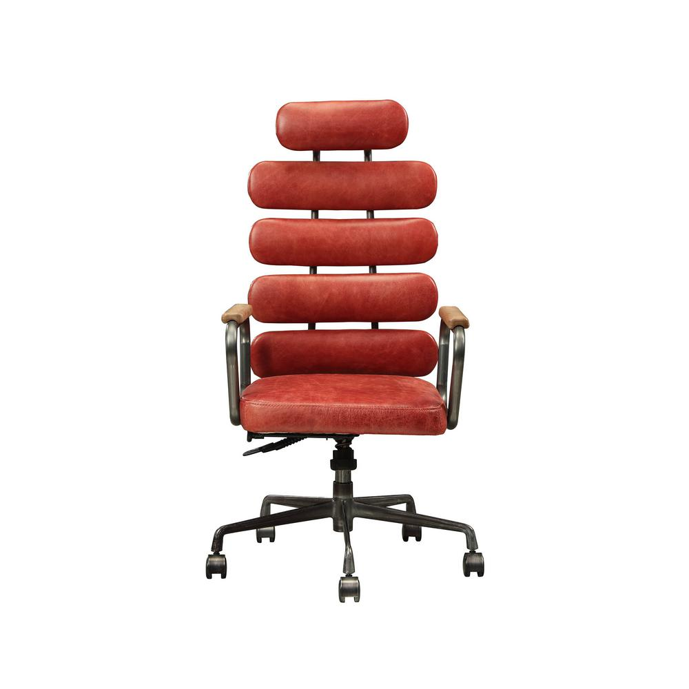 Acme Furniture Calan Vintage Red Top Grain Leather Executive Office Chair 92109 The Home Depot