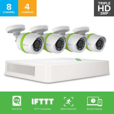 8-Channel 1280 TVL 1TB HDD Security Surveillance Wired Camera Systems 100 ft. Night Vision Works with Alexa Using IFTTT