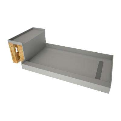 32 in. x 72 in. Single Threshold Shower Base in Gray and Bench Kit with Right Drain and Tile able Trench Grate