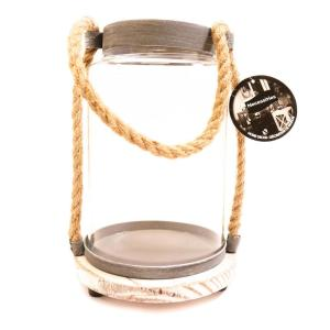 9-1/2 in. x 6-1/2 in. x 6 1/2 in. Glass Candle Holder with Hemp Handle