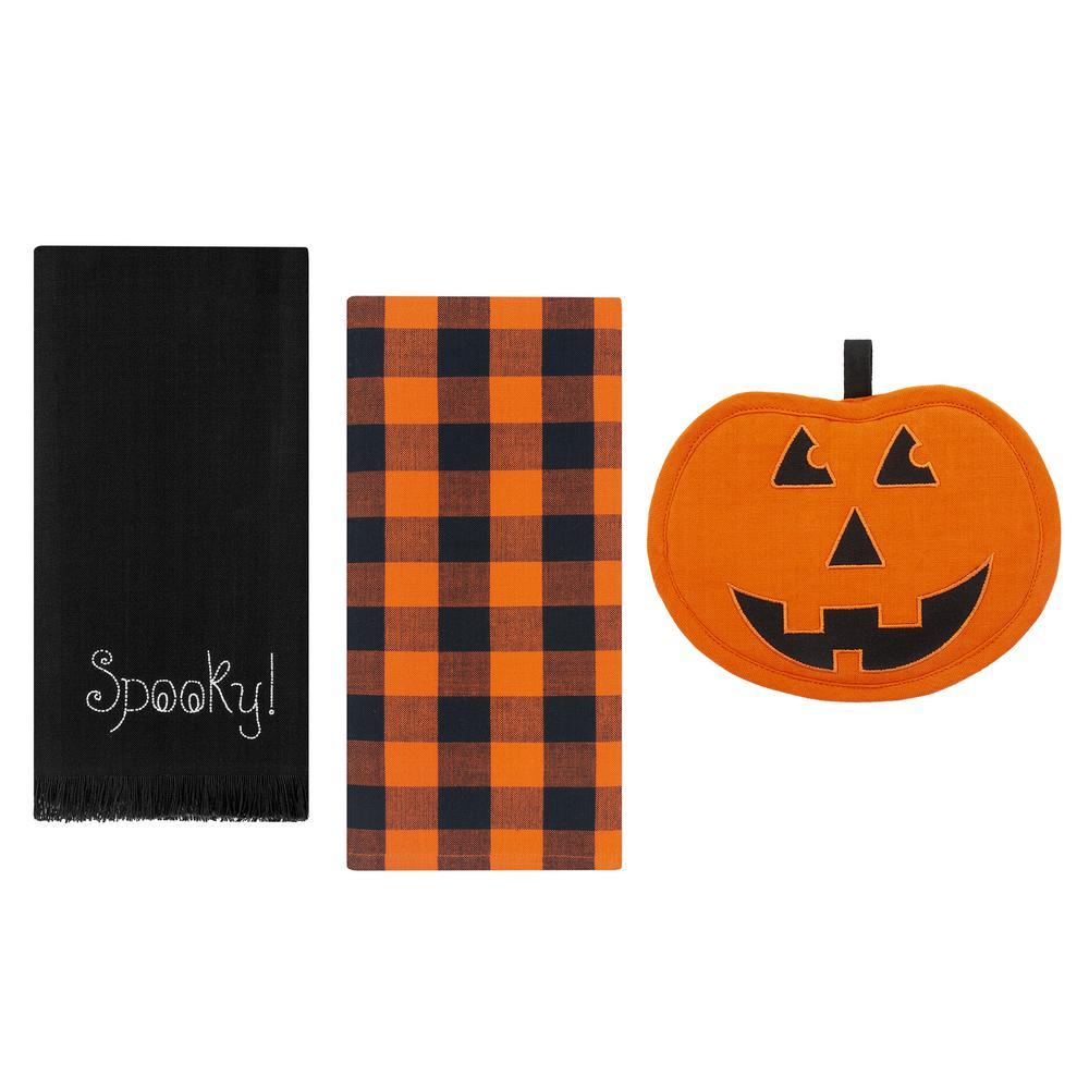 Farmhouse Living Jack-O-Lantern Pumpkin Black/Orange Pot Holder and Kitchen Towels (Set of 3)