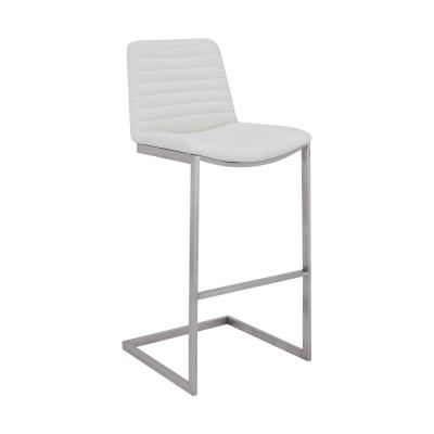 Lucas Contemporary 26 in. Counter Height Barstool in Brushed Stainless Steel and White Faux Leather