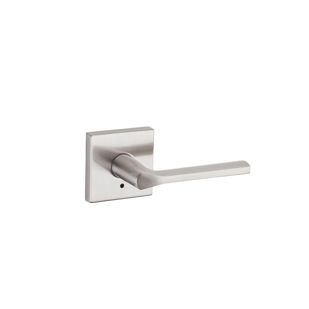 Lisbon Satin Nickel Square Privacy Bed/Bath Door Lever