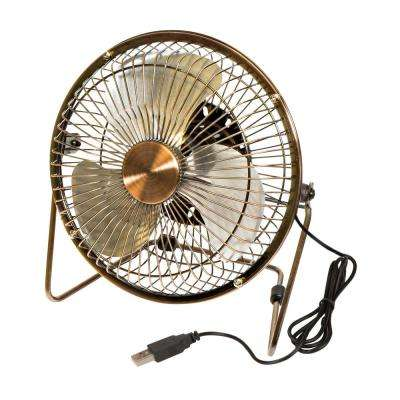 6 in. Dia Single Speed USB-Powered Desk Fan in Bronze