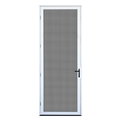 36 in. x 96 in. White Surface Mount Left-hand Ultimate Security Screen Door with Meshtec Screen