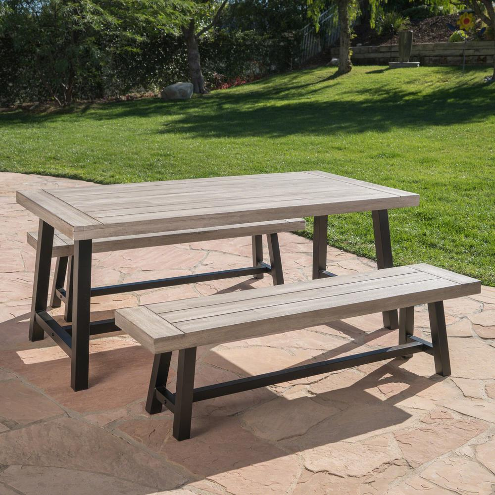 Carlisle light gray 3 piece wood and black metal outdoor dining set