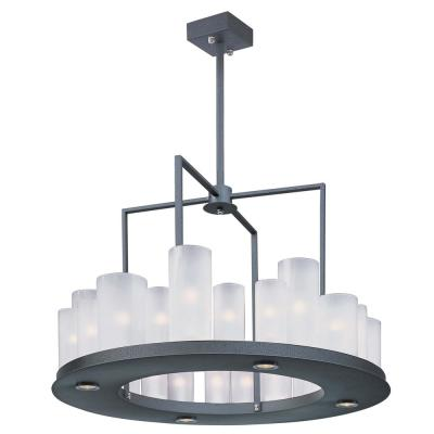 Urban Nights 28.25 in. W 28-Light Textured Black Chandelier with Frosted Shade