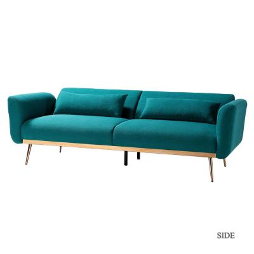 Cartier 3-Seat Teal Velvet Sofa