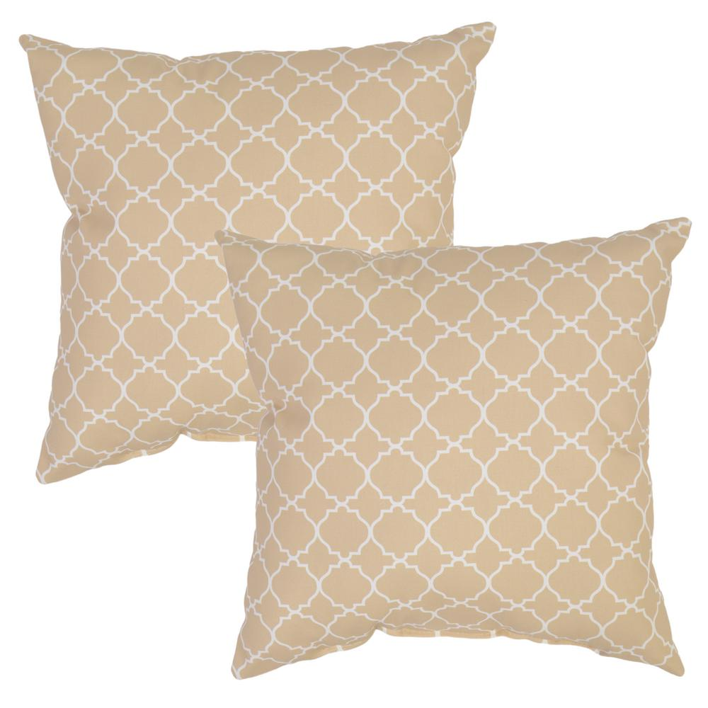 Plantation Patterns Sand Geo Square Outdoor Throw Pillow (2 Pack)
