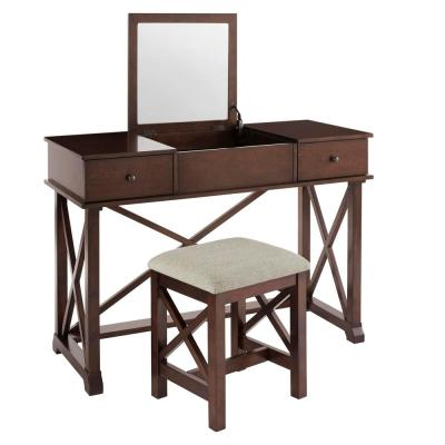 Dawton Chocolate Wood Vanity Set with Inset Mirror and Upholstered Stool (46.10 in W. X 32.30 in H.)