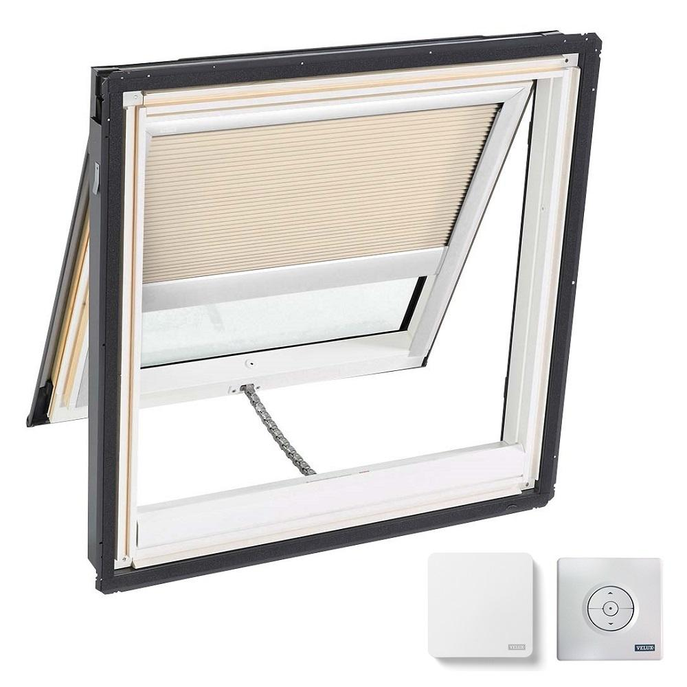 VELUX 44-1/4 in. x 45-3/4 in. Venting Deck Mount Skylight w/ Laminated Low-E3 Glass & Beige Solar Powered Room Darkening Blind