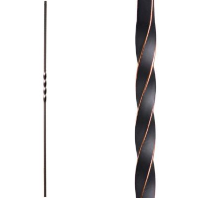 Twist and Basket 44 in. x 0.5 in. Oil Rubbed Copper Single Twist Solid Wrought Iron Baluster