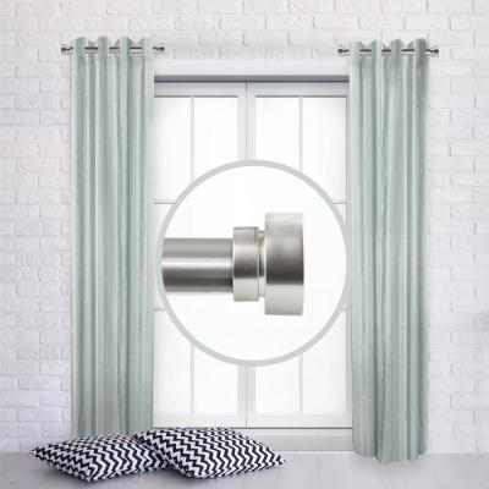 1 inch Side Window Curtain rod Adjustable 12-20 inch long (Set of 2) - Satin Nickel