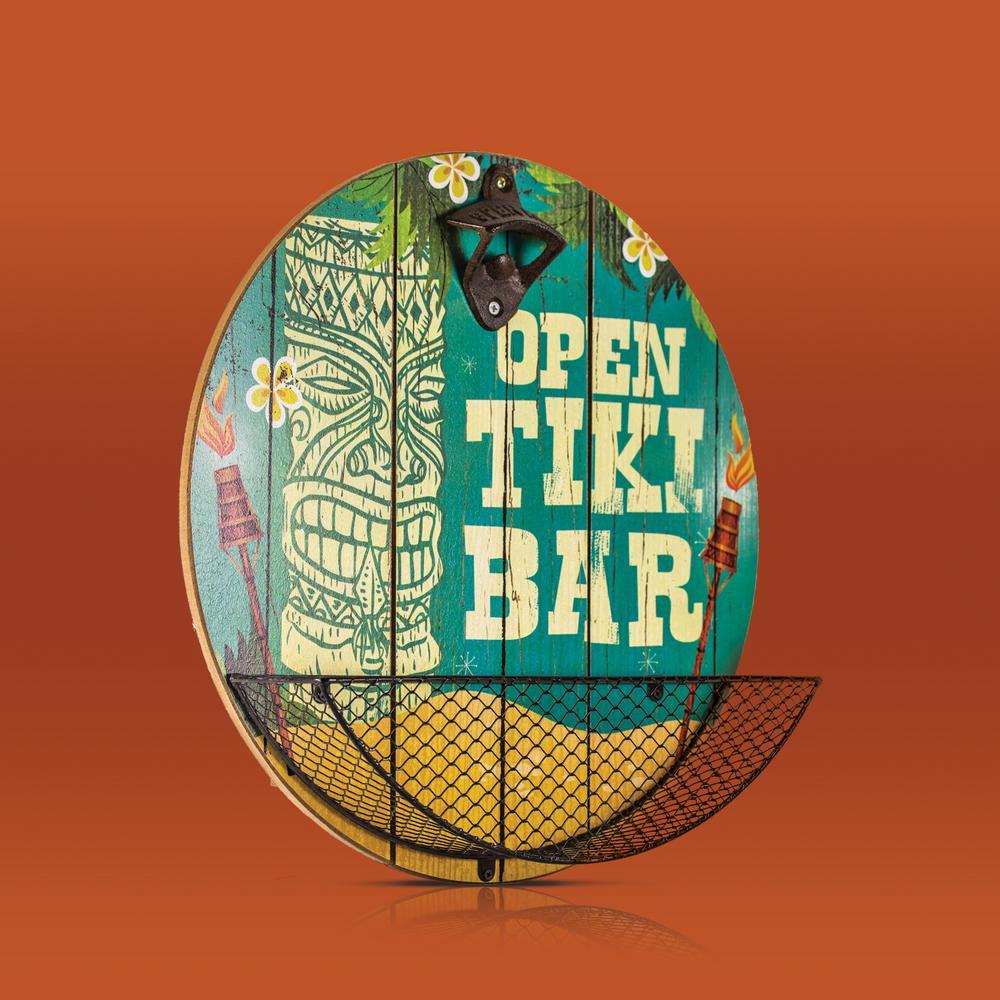 Open Tiki Bar Cap Catcher Bottle Opener Wall Decor