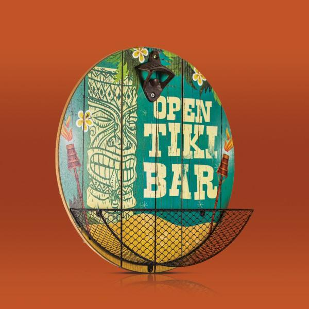 Crystal Art Gallery Open Tiki Bar Cap Catcher Bottle Opener Wall