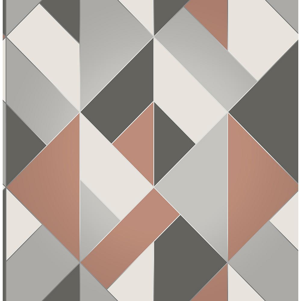 Brewster 8 in. x 10 in. Delano Copper Structured Geo Wallpaper