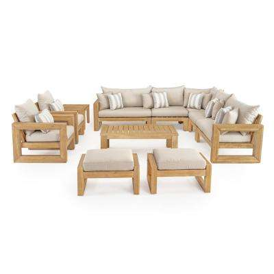 Benson 11-Piece Wood Patio Conversation Set with Slate Grey Cushions