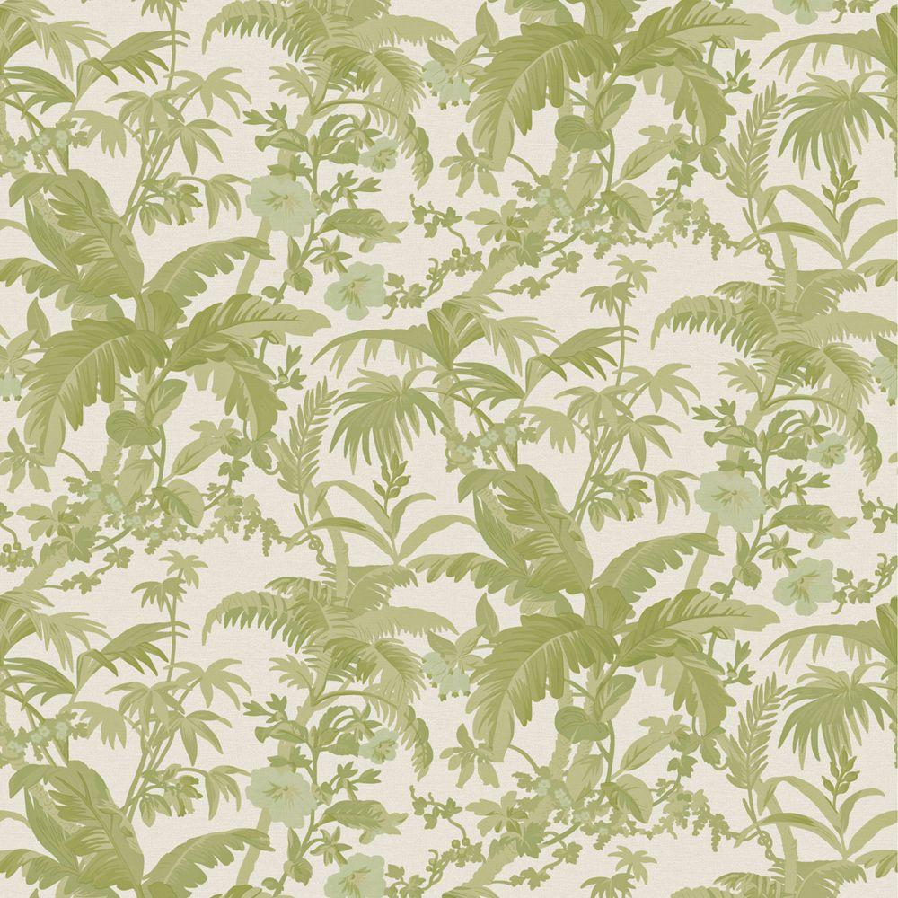 The Wallpaper Company 8 in. x 10 in. Green Tropical Paradise Wallpaper Sample