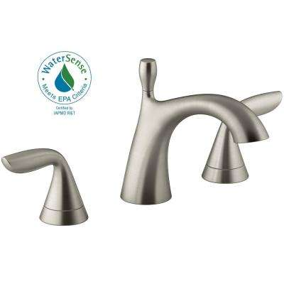 Williamette 8 in. Widespread 2-Handle Bathroom Faucet with Drain in Vibrant Brushed Nickel