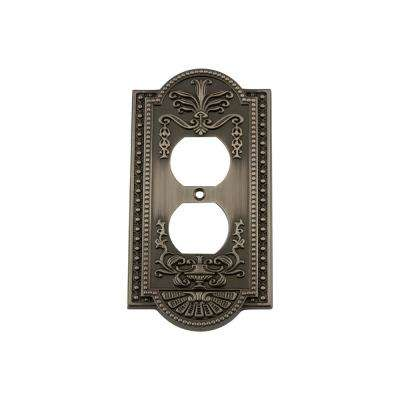 Meadows Switch Plate with Outlet in Antique Pewter