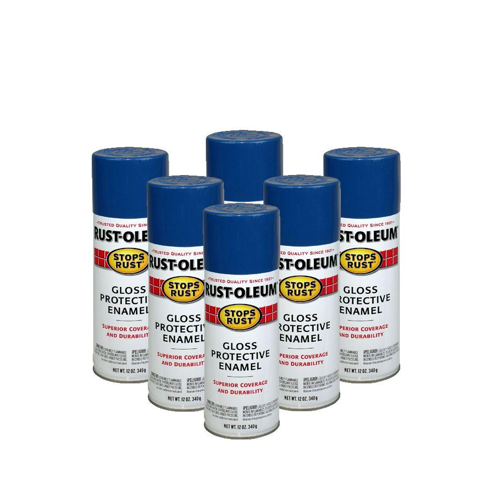 Rust-Oleum Stops Rust 12 oz. Gloss Royal Blue Spray Paint (6-Pack)-DISCONTINUED
