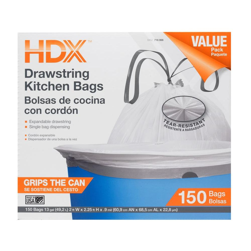 HDX 13 Gal. White Drawstring Kitchen Trash Bag (150 Count)