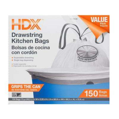 13 Gal. Kitchen Drawstring White Trash Bag (150 Count)