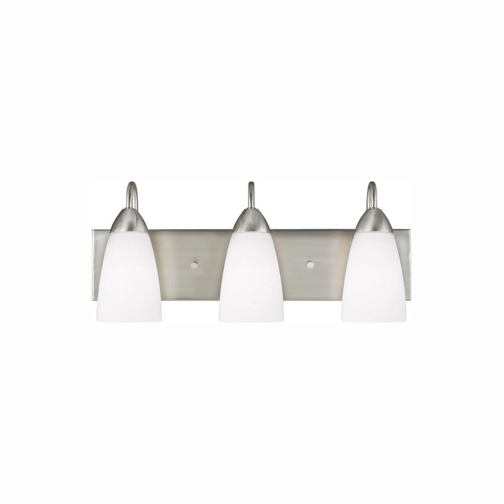 Sea Gull Lighting Seville 3 Light Brushed Nickel Bath With Led Bulbs