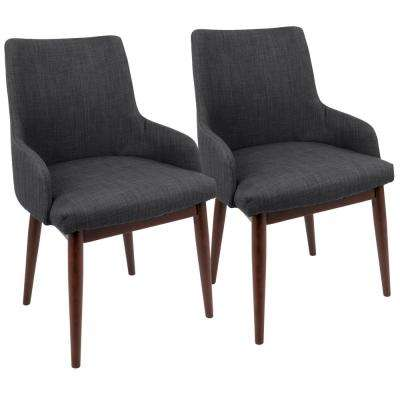 Santiago Mid-Century Walnut and Dark Grey Modern Dining/Accent Cahir (Set of 2)