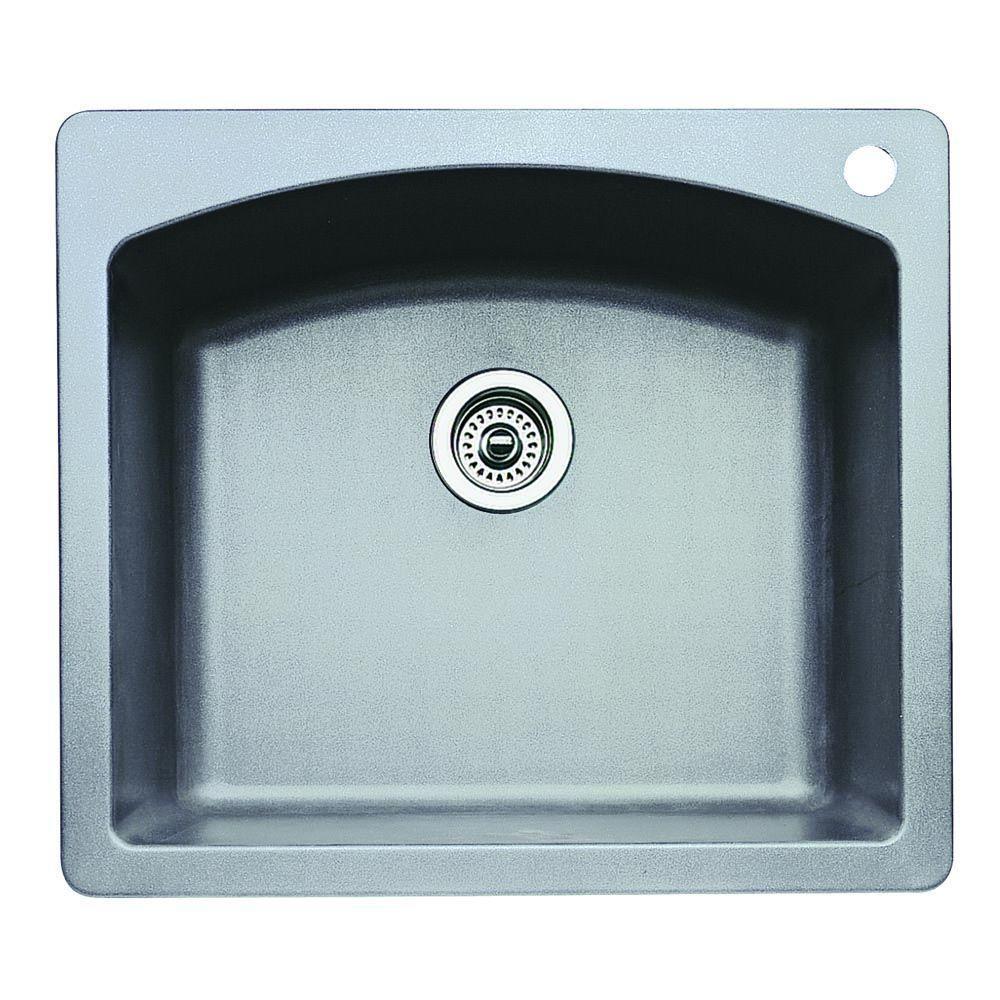 Blanco Diamond Dual Under Mount Granite Composite 25 inch 1-Hole Single Bowl Kitchen Sink in Metallic Gray by Blanco