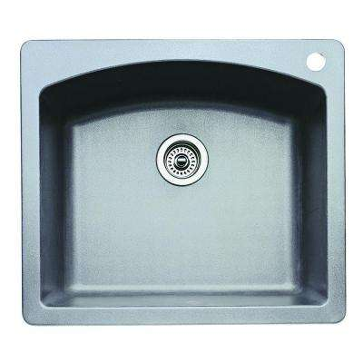 Diamond Dual Under Mount Granite Composite 25 in. 1-Hole Single Bowl Kitchen Sink in Metallic Gray