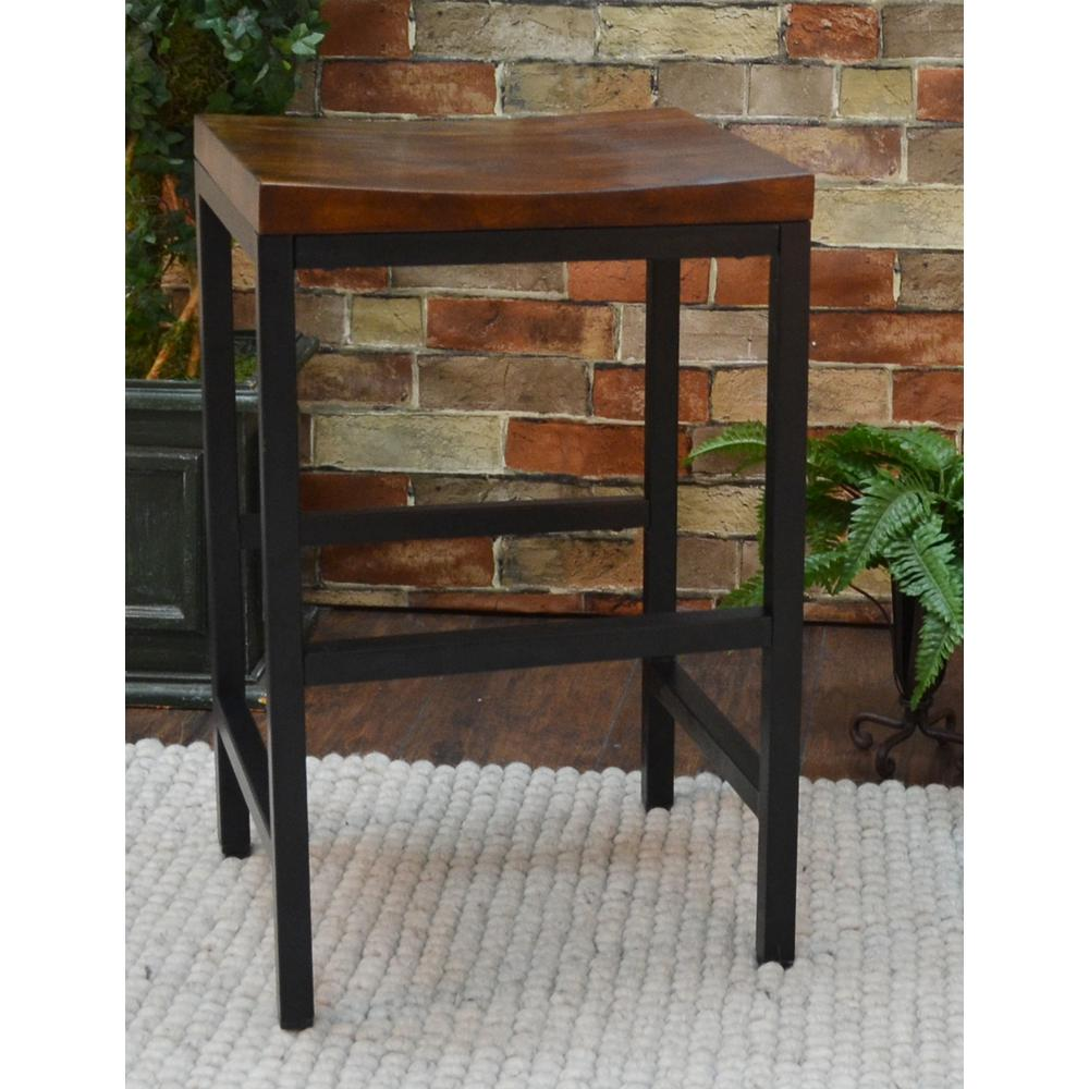 Carolina Cottage Aileen 24 in. Black and Chestnut Bar Stool