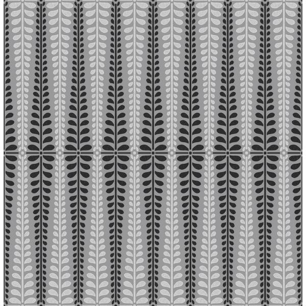 Stellar Grey Floral Stripe Wallpaper