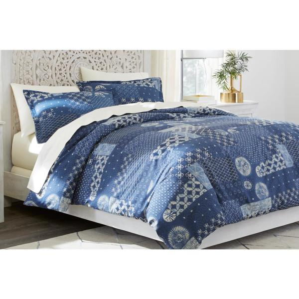 Gutherie 3-Piece Shibori Indigo Patchwork Full/Queen Duvet Cover Set