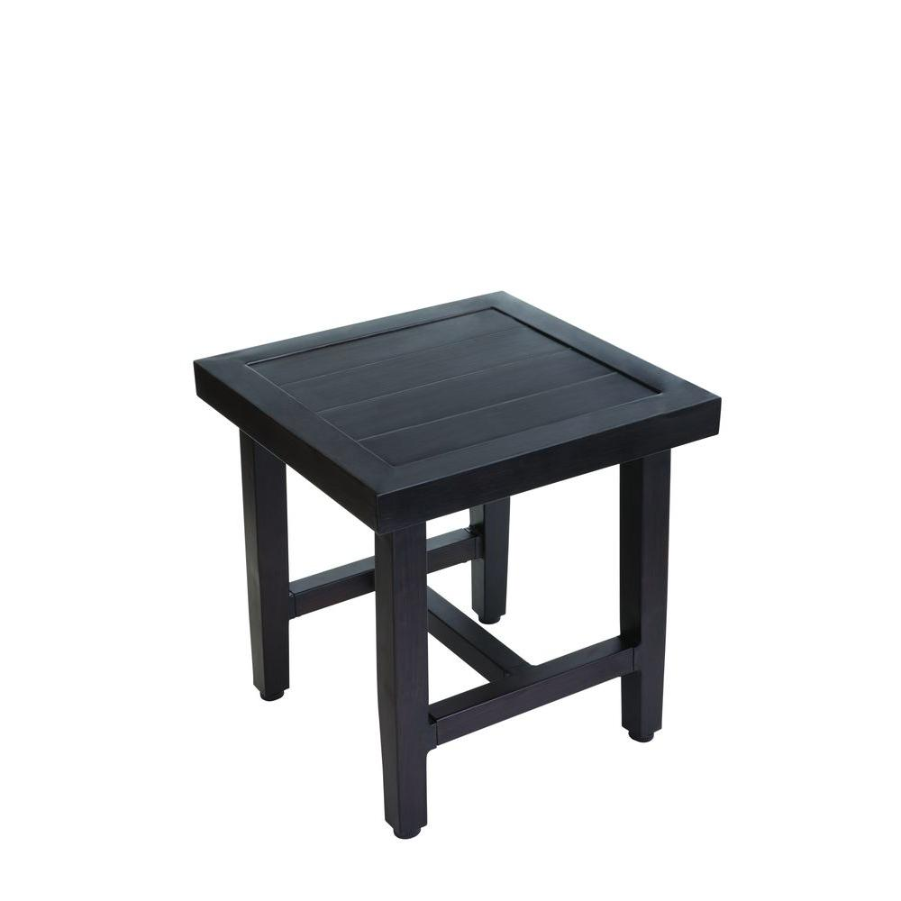 hampton bay woodbury metal outdoor patio accent table d9127 ts the home depot. Black Bedroom Furniture Sets. Home Design Ideas