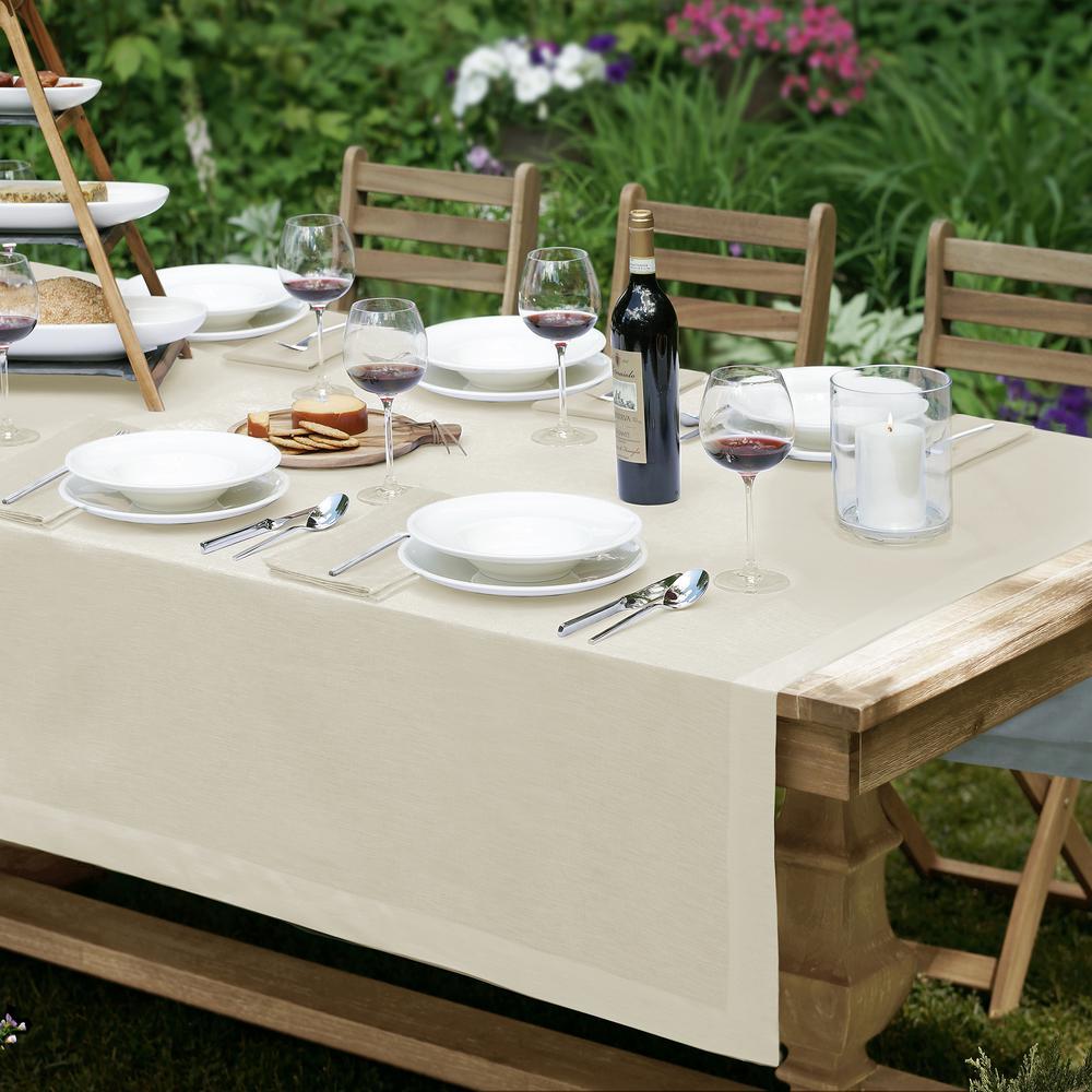 La Classica 70 in. x 70 in. Square Fabric Tablecloth in Ivory