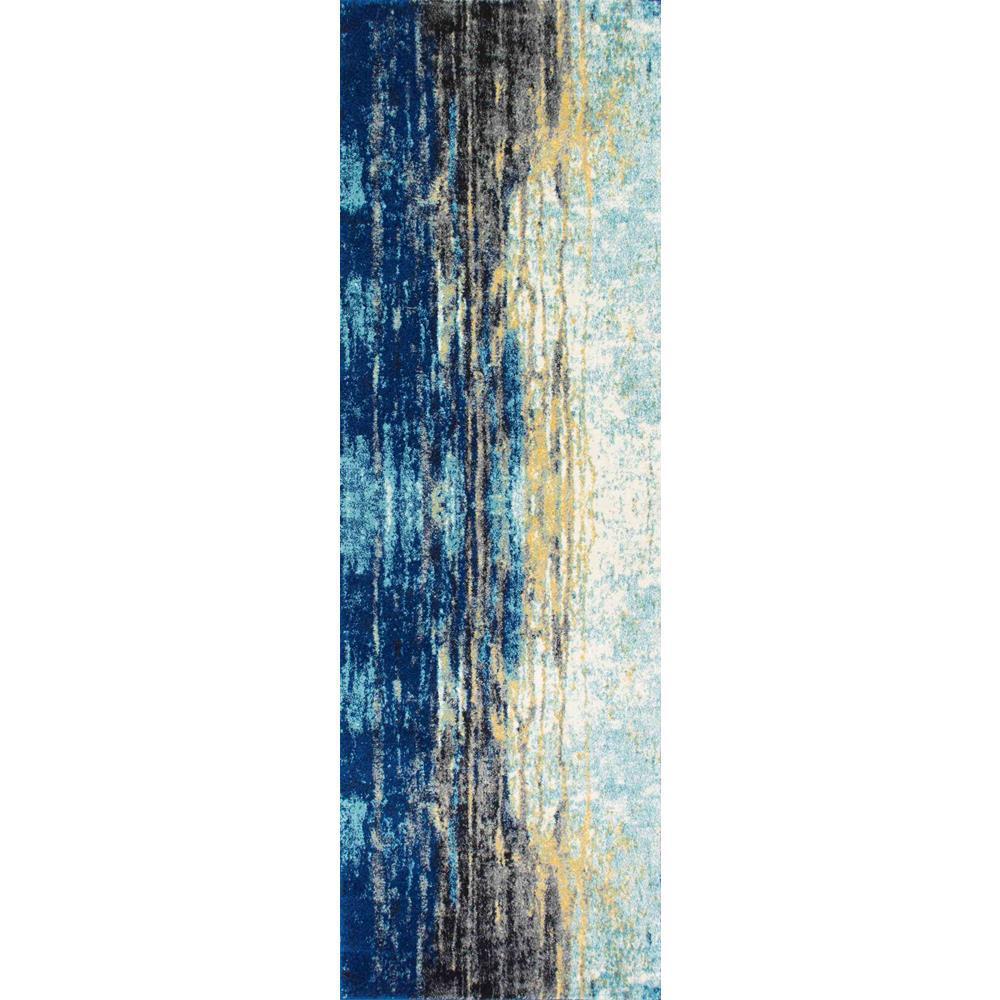 Katharina Modern Abstract Blue 3 ft. x 12 ft. Runner