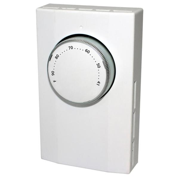 Line Voltage Single Pole Mechanical Bi-Metal Thermostat in White